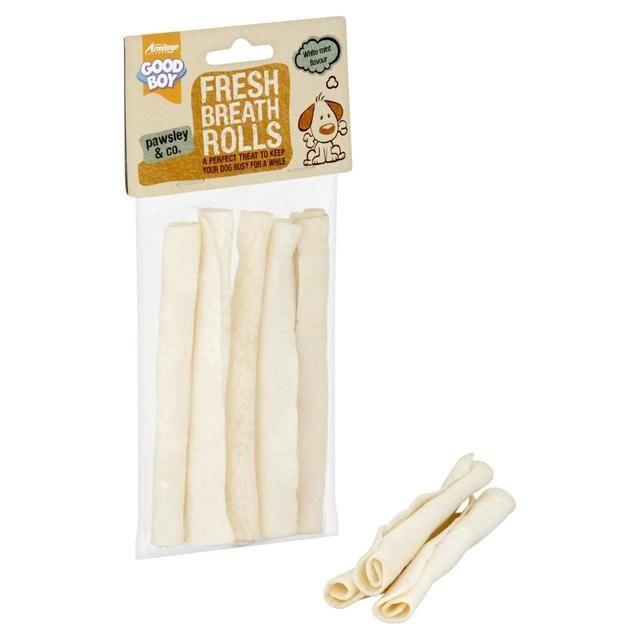 Dog Chew Fresh Mint Rawhide Rolls Here Boy