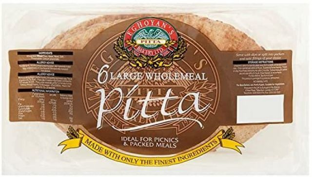 Wholemeal Pitta Bread Eghoyans 6 Pack