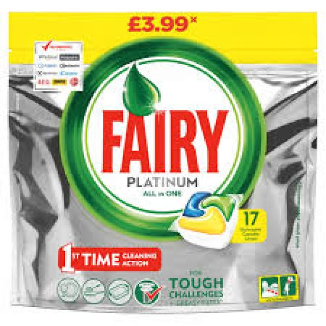 Fairy Platinum Dishwasher Tablets Lemon 17 Tablets