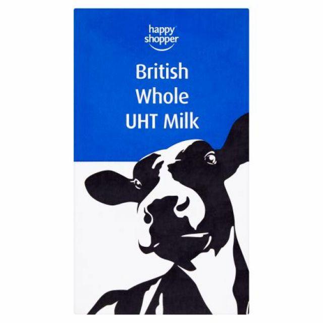 Happy Shopper UHT Whole Milk 1L