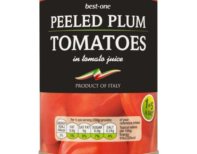 Best-one Tin Peeled Plum Tomatoes