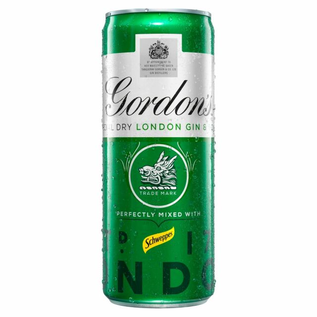 Gin Gordon's & Tonic Mixed With Schweppes Can