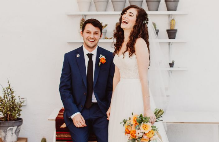 Aimee and Drew's colourful, emoji-filled wedding shot by Steve Cowell