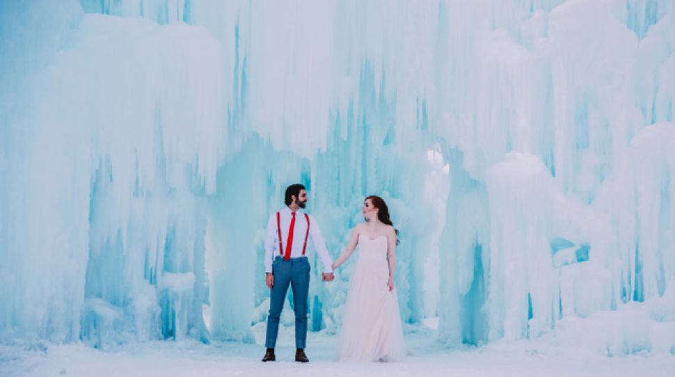 A magical wedding shoot in the Ice Castles, shot by Laurie K. Jensen