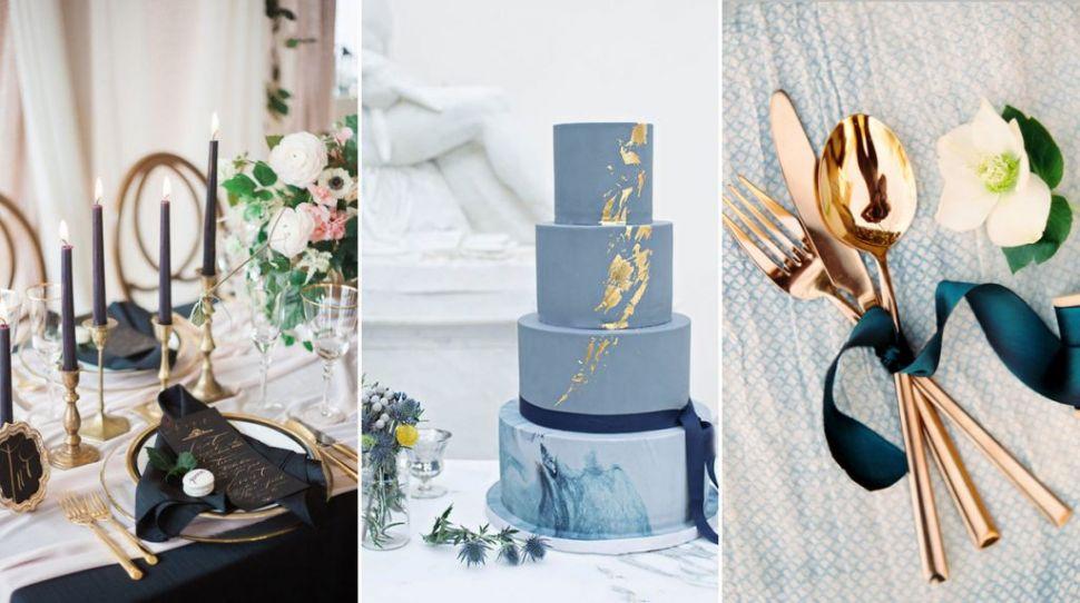 Navy Wedding Details With a Metallic Twist