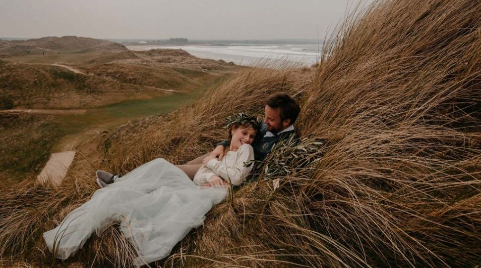 Lisa and Alex's handfasting ceremony at their Doonbeg Beach wedding