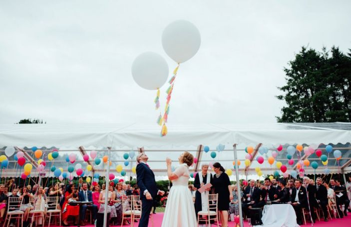 Alison and Garret's fun balloon extravaganza marquee wedding