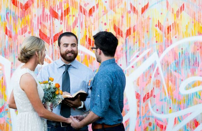 Hand-Painted Ceremony Backdrops For An Arty Vibe