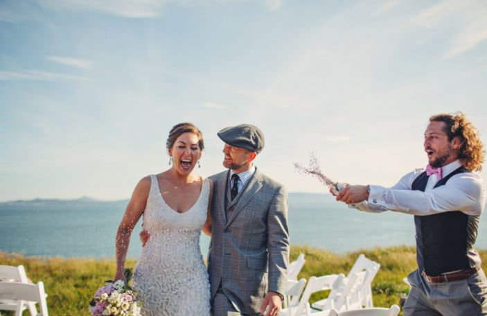 Heather and Brett's outdoor seaside wedding at The House, Howth
