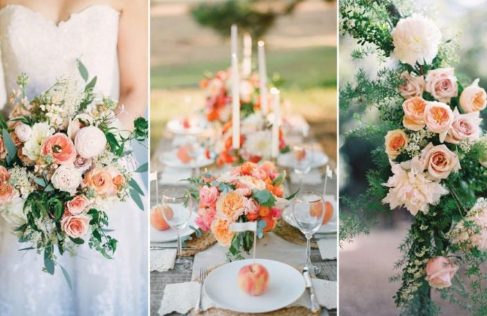 Summer Wedding Flower Trends - Peach Blooms and Foliage
