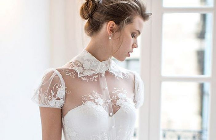 Six stunning collared wedding gowns to obsess over