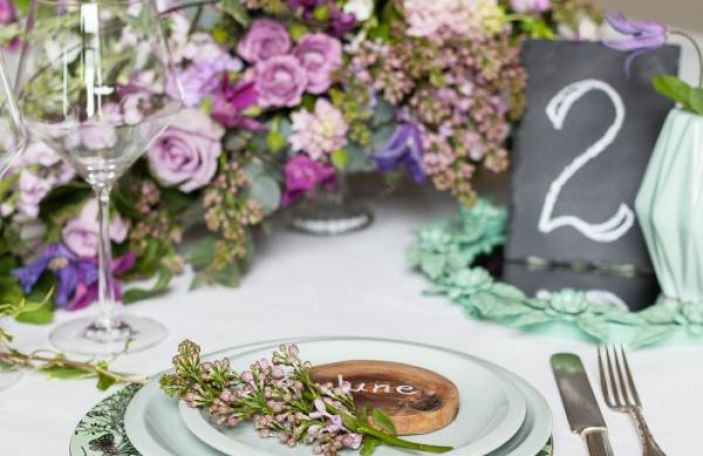 Purple and Green Garden Wedding Table Inspiration