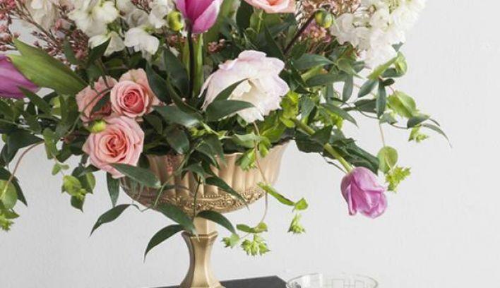DIY Footed Gold Flower Vase
