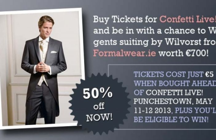 WIN Gents Suiting worth €700 From Formalwear.ie When You Pre-book Confetti Live! Punchestown Tickets