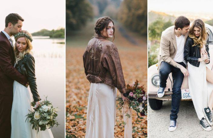Alternative bridal fashion: Leather Jacket Brides