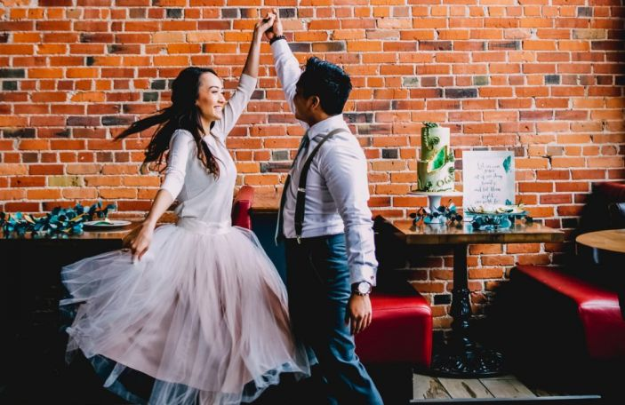 Green and gold styled elopement shoot, shot by Laurie K. Jensen Photography
