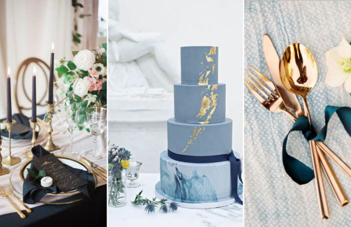 Navy Wedding Details With a Metallic Twist