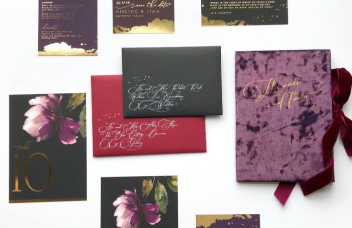 Winter wedding stationery inspiration: Save the Date's dark, dramatic suite