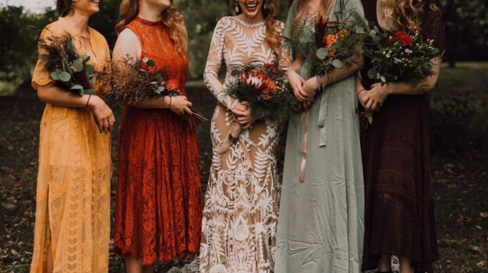 16 mix and match warm, earthy autumn bridesmaid dresses you'll love