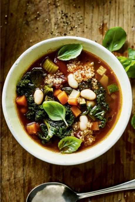 Kale Minestrone | DonalSkehan.com, A classic minestrone soup with a new twist from Indy Power's book The Little Green Spoon.