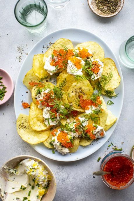 Potato Chips, Trout Roe, Creme Fraiche & Dill & Chives | DonalSkehan.com