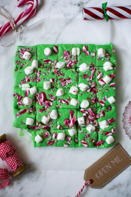 Christmas Candy Cane & Marshmallow Fudge | DonalSkehan.com, Santa's elves would definitely approve of this Christmas fudge!
