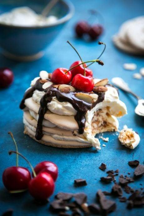 Cherry & Chocolate Almond Meringue Stacks | DonalSkehan.com, A showstopper of a dessert!