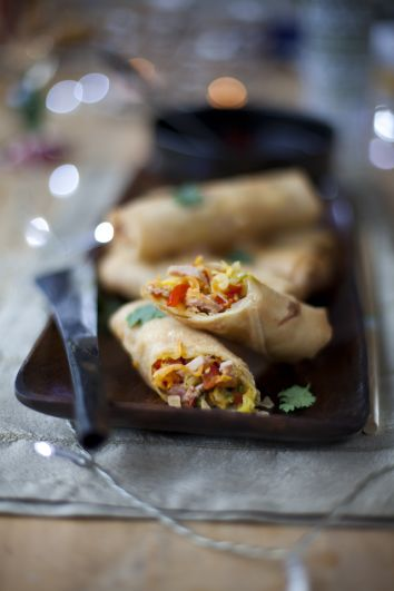 Crispy Ham Spring Rolls with a Soy Ginger Dipping Sauce   DonalSkehan.com, Great way to use up leftovers.