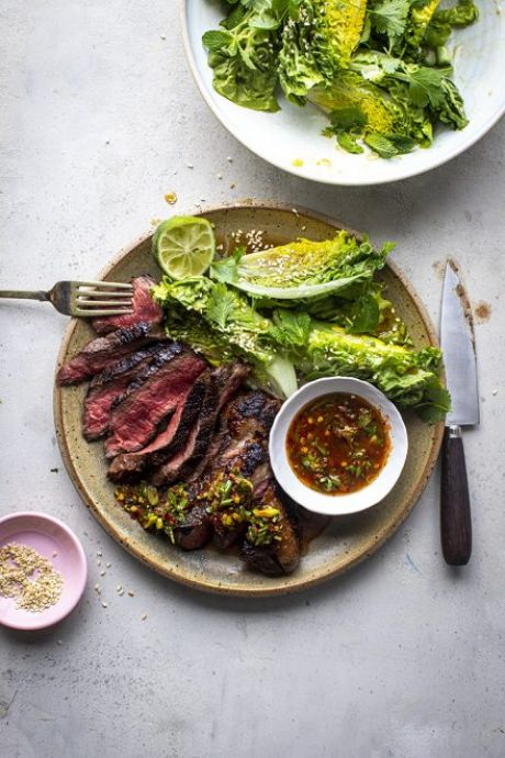 Steak with Crying Tiger Sauce and Sesame Baby Gem Salad | DonalSkehan.com