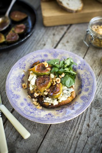 Sourdough Tartine with Blue Cheese & Roasted Honey Figs | DonalSkehan.com, Brilliant dinner party starter.