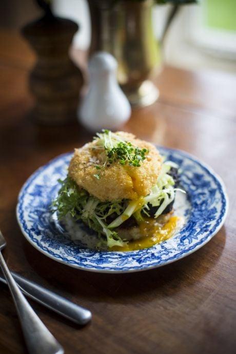 Crispy Golden Eggs with Black Pudding, Pan-Fried Boxty & Crisp Apple Salad   DonalSkehan.com, Twist on traditionally Irish ingredients.