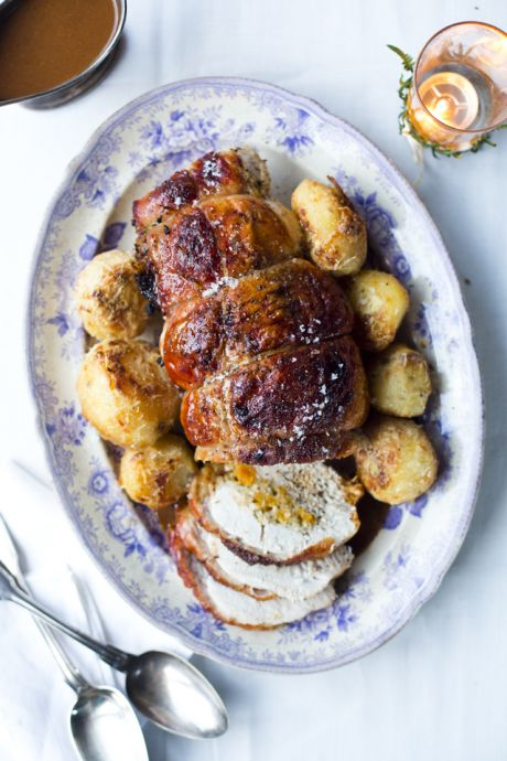 Rolled Turkey Breast with Sweet Apricot Stuffing | DonalSkehan.com, Easy carve option, packed full of herbs and sweet festive fruit!