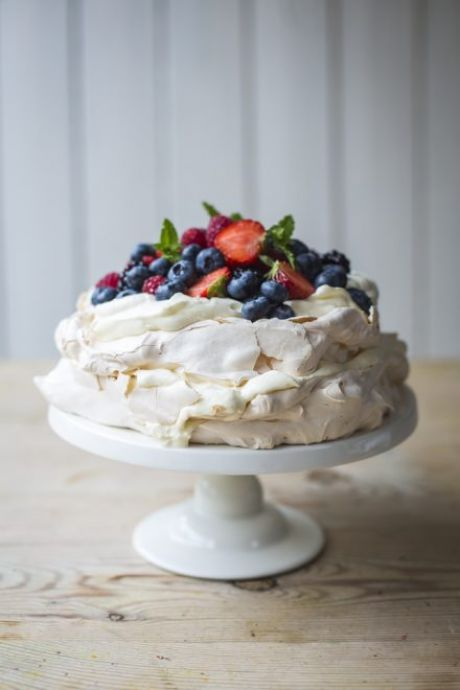 Summer Berry Layered Pavlova | DonalSkehan.com, Perfect summer dinner party dessert!