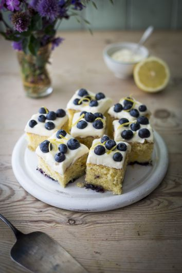 Lemon & Blueberry Slices with Mascarpone Icing | DonalSkehan.com, Light, zesty & great with a cup of tea!