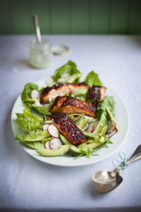 Blackened Salmon With Green Goddess Avocado Salad | DonalSkehan.com, Cooked on the BBQ, this is sheer perfection!
