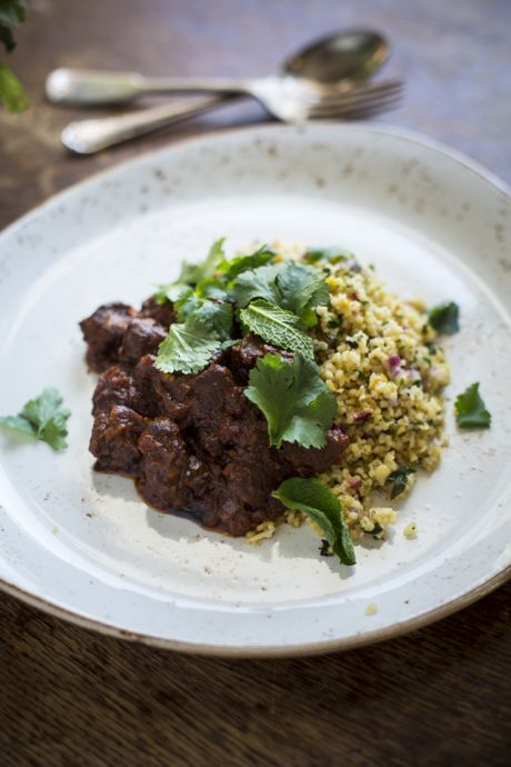 Spiced Beef  & Pickled Cucumber Mint Salad with Beetroot Hummus | DonalSkehan.com, This middle eastern inspired dish can also be served as a starter.