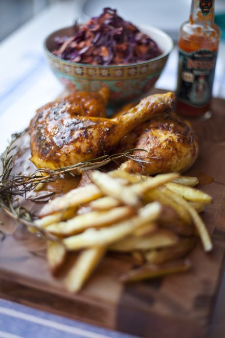 Spatchcocked Buffalo Chicken with Rosemary Roast Chips and Red Cabbage Coleslaw | DonalSkehan.com, Perfect weekend food, well worth trying!