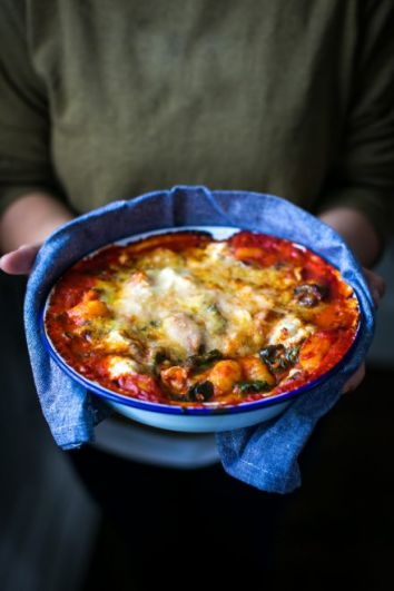 Baked Tomato Gnocchi | DonalSkehan.com, A cheesy, comforting gnocchi dish the whole family will love.