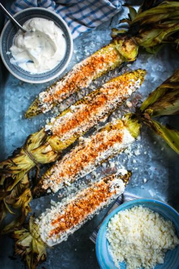 Mexican Grilled Corn (Elote) | DonalSkehan.com, Grilled corn coated in mayonnaise, cheese and chilli