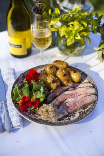 Butterflied Lamb with Yoghurt & Mint with Charred Honey Mustard-Glazed Potatoes | DonalSkehan.com, A lovely Irish inspired lunch or dinner dish.