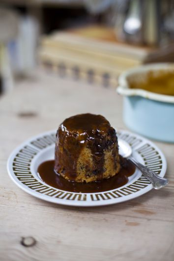 Chocolate Chip Banana Bread Puds with Salted Caramel Sauce | DonalSkehan.com, This is a great dinner party dessert with a retro twist.