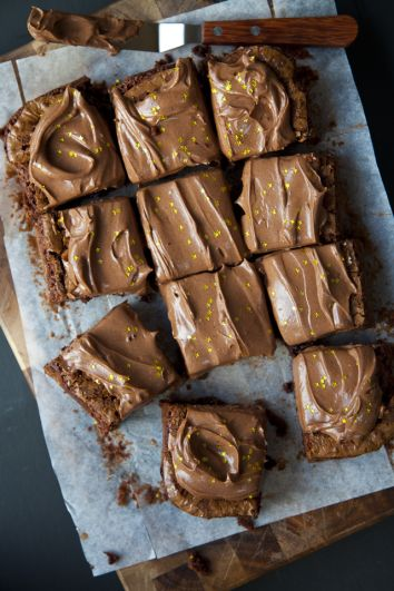 Rich Frosted Chocolate Brownies | DonalSkehan.com, Best served with a glass of cold milk!