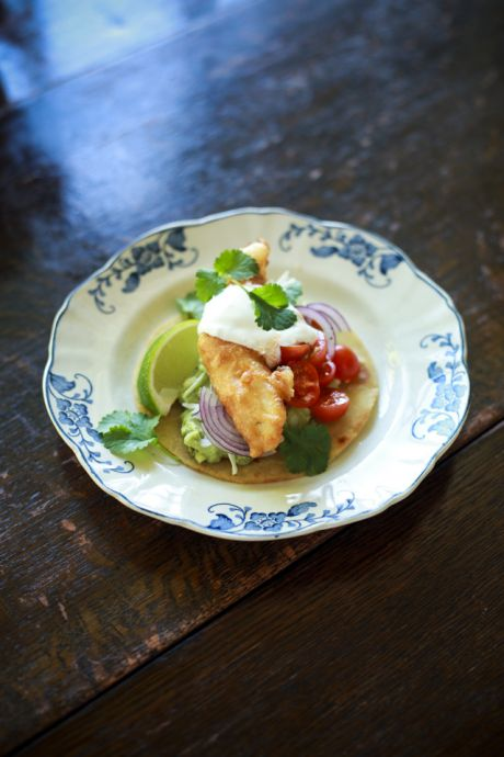 Beer Batter Fish Tacos with Cherry Tomato Salsa | DonalSkehan.com, Perfect weekend brunch.