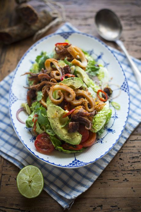 Crispy Squid & Chorizo Salad with Deconstructed Guacamole | DonalSkehan.com, Delicious summer starter, perfect for sharing.