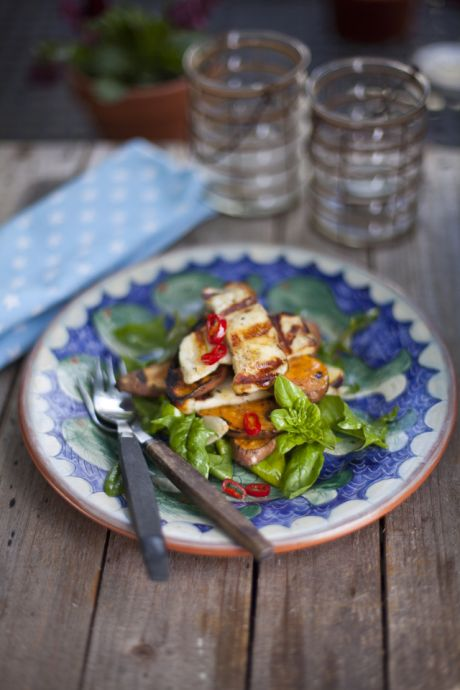 Sweet Potato and Halloumi Salad | DonalSkehan.com, A great vegetarian BBQ option!