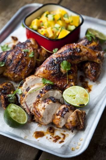 BBQ Jerk Chicken with Mango Salsa | DonalSkehan.com, Ultimate summer food!