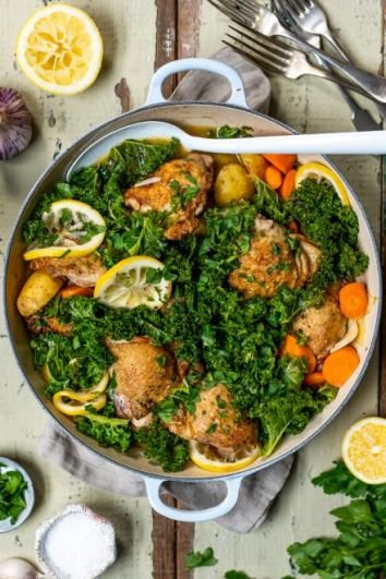 One Pan Roast Chicken | DonalSkehan.com, Tender chicken mixed with potatoes, greens and a kick of lemon.