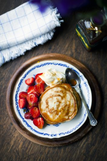 Private: Lemon and Poppyseed Pancakes with Strawberries, Apple Syrup and Vanilla Mascarpone | DonalSkehan.com, Kids and adults alike go wild for these pancakes!