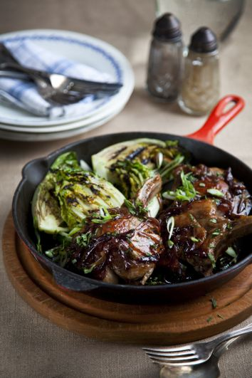 Maple Pork Chops With Griddled Baby Gem Lettuce | DonalSkehan.com, Liven up a plain old pork chop with this sweet & sticky glaze!
