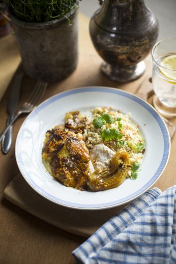 Baked Indian Chicken with Cardamom, Coriander and Almond Couscous | DonalSkehan.com, A nice change from a traditional roast chicken.